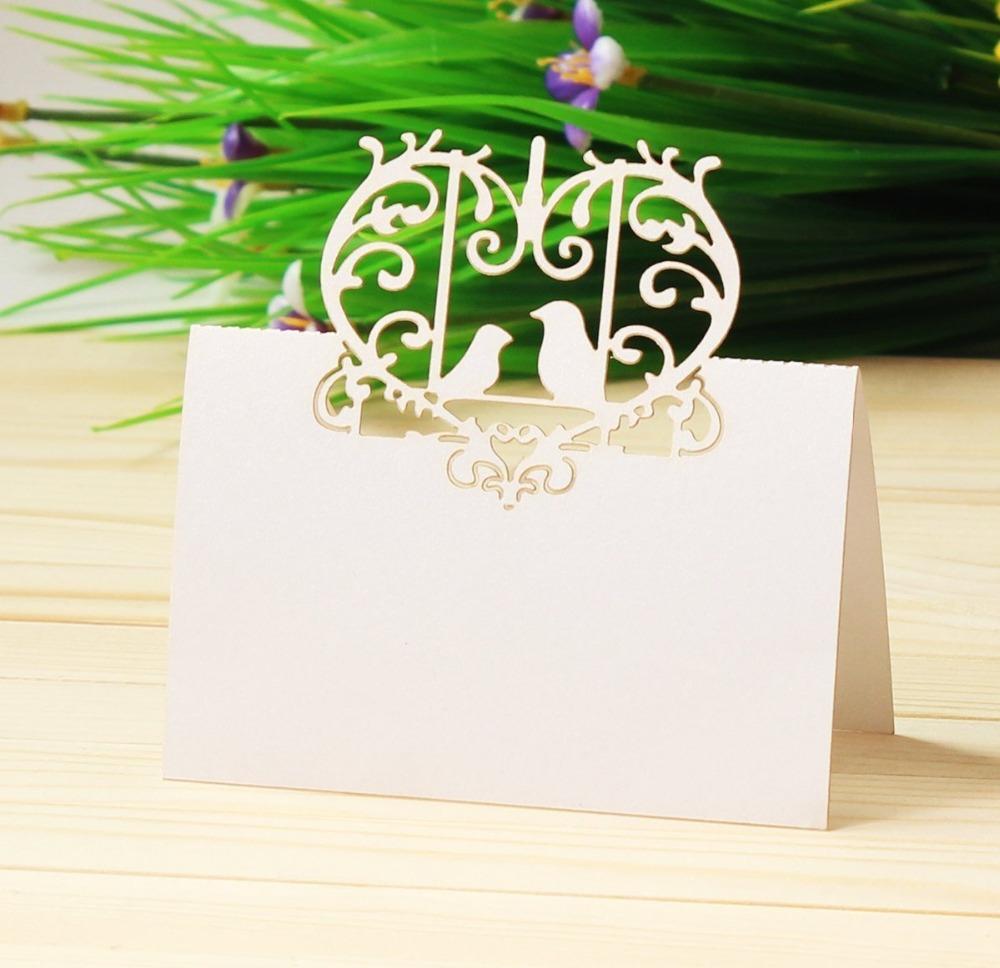 100 pcs parfait paire amour oiseaux coeur de mariage table nom de la carte de carte de mari e de. Black Bedroom Furniture Sets. Home Design Ideas