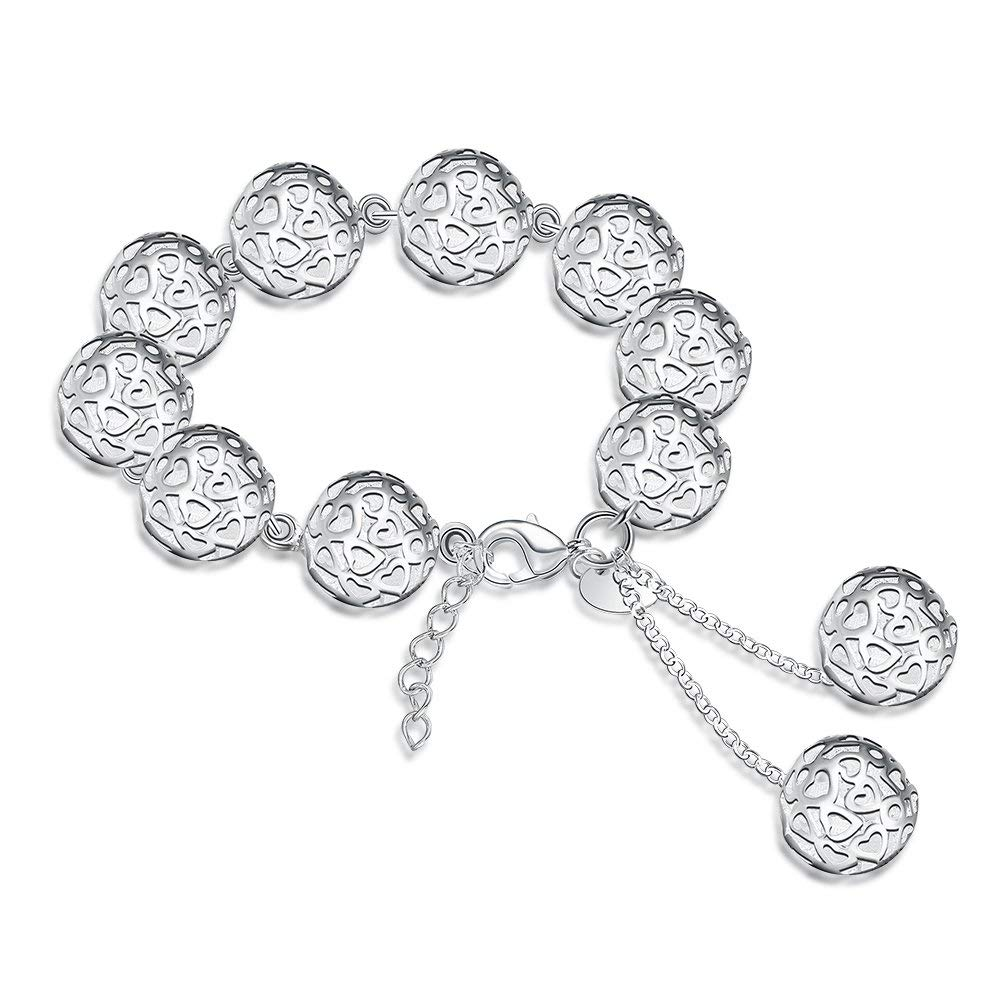 7634d4dcc41 Get Quotations · fashionbeautybuy Women Heart Shaped Hollow Out Balls Shape  Bracelet Silver Plated Bangle Body Chain Jewelry Wristband