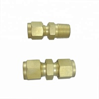 Female Thread Hexagon Equal Double Ferrule 10mm Compression Brass Tube Fitting