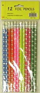 Foil Pencils - 12 pack - asst. designs - Case Pack 48 SKU-PAS92902