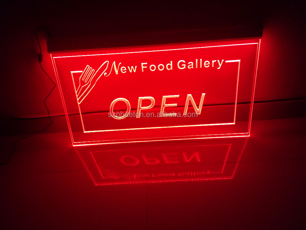 High bright edge lit led open sign