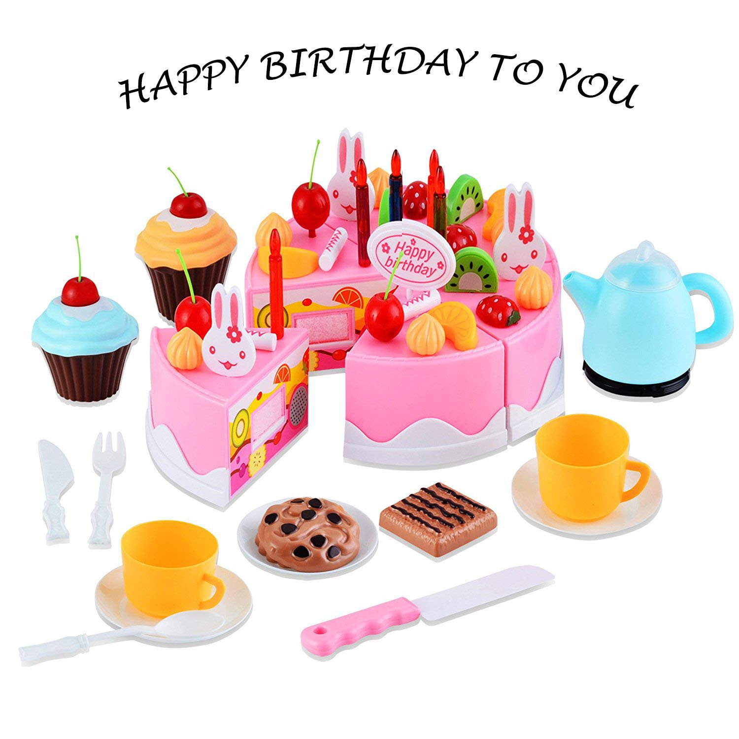 Kids Pretend Play Toys Birthday Cake Children's Day Gift Play Food Toy Set DIY COSPLAY Cutting Pretend Play Birthday Party Cake Desserts Toy Candles For Children Play Tea set