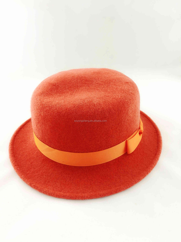 7f0475044bf 2019 wholesale round wool felt top hat logo custom colorful felt cowboy hat