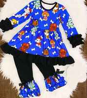 Hot sale kids cartoon outfit lovely toddler girls winter ruffle cartoon clothes set boutique newborn clothing