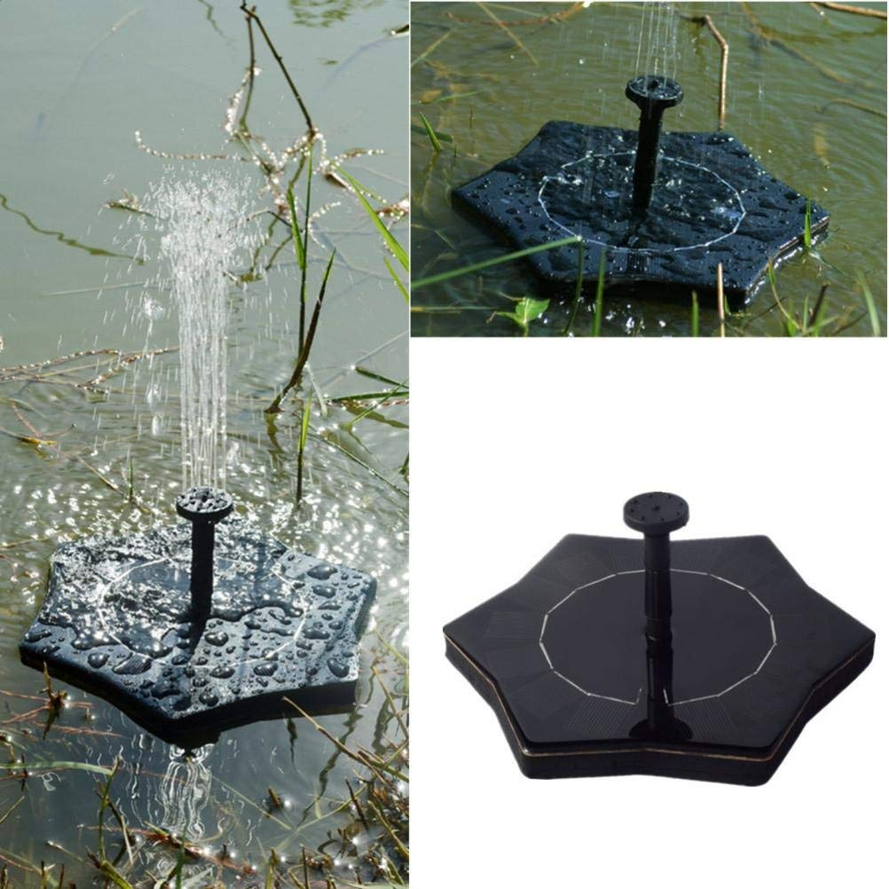 Solar Fountain Pump,Fheaven Outdoors Solar Powered Bird Bath Fountain Water Floating Small Pond for Garden Patio Decoration