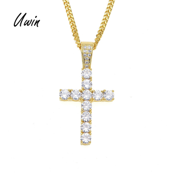 UWIN Hiphop Gold Plated Iced Out Cross Custom Sterling Silver Diamond CZ Cross Pendant