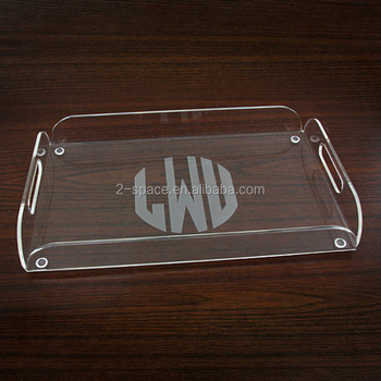Personalized Wedding Events Acrylic Serving Tray Transparent Custom Engraved Monogram Acrylic Gifts Tray
