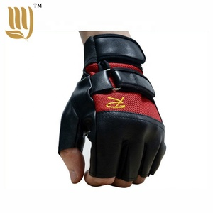 Cheap price outdoor sports gloves half finger leather motorbike racing gloves