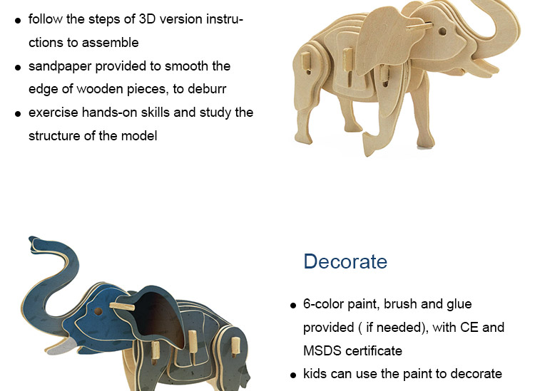 Kids Educational Elephant 3D Puzzle Wooden Toy