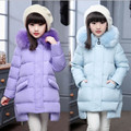 2016 New Arrive Girl Winter Down Jacket Fashion Fur Collar Hooded Long Winter Thick Warm Children