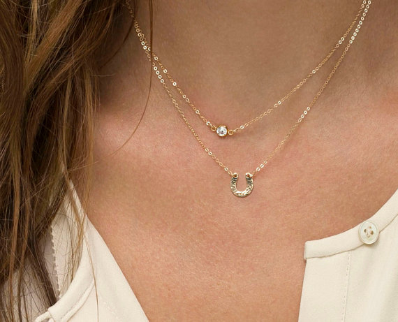 Tiny Horsehoe Necklace Delicate Chain Rose Gold Fill Or