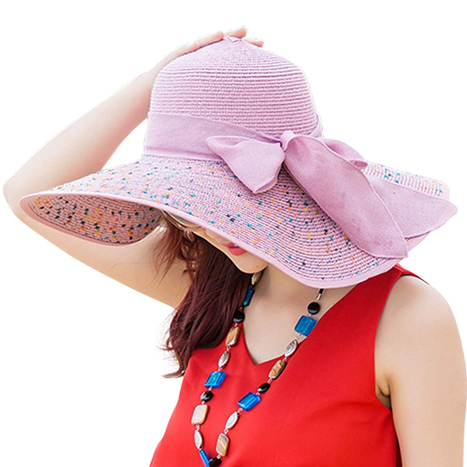 ... buying now 9b185 849ba Get Quotations · Lanzom Womens Bowknot Straw Hat  Floppy Foldable Roll up ... c754b3805def