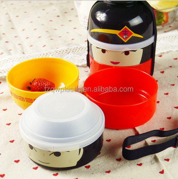 3-layers festive doll plastic lunch box set, bowl sets