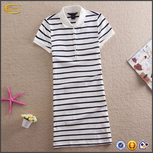 2018 Ecoach OEM Wholesale Summer Tops Clothing One piece Dress Embroidery Striped Fashion Polo Shirt Dress