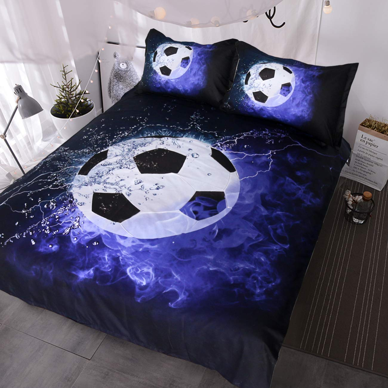 BlessLiving 3D Soccer Ball Bedding Blue Flames Teen Boys Sports Duvet Cover 3 Piece Dark Navy Blue Comforter Cover Set (Full)