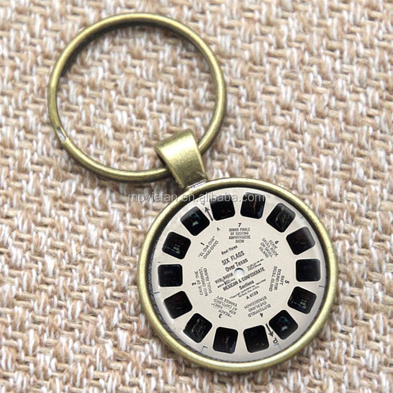 View Master keyring Vintage Viewmaster Reel Viewfinder Eighties Fads Geek Art keyring Fads print glass keyring