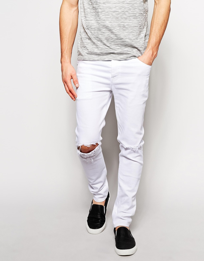 All White Skinny Jeans For Men - Jeans Am
