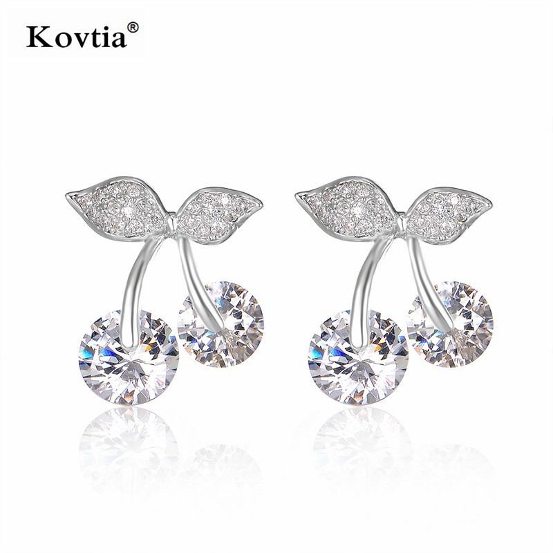 Kovtia New Environmental Copper Alloy Material Jewelry Sexy Double Cherry CZ Stud Earrings for Girlfriends