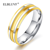 ELBLUVF Free Shipping Stainless Steel Jewelry 18k Gold Plated 6mm Width Men Ring
