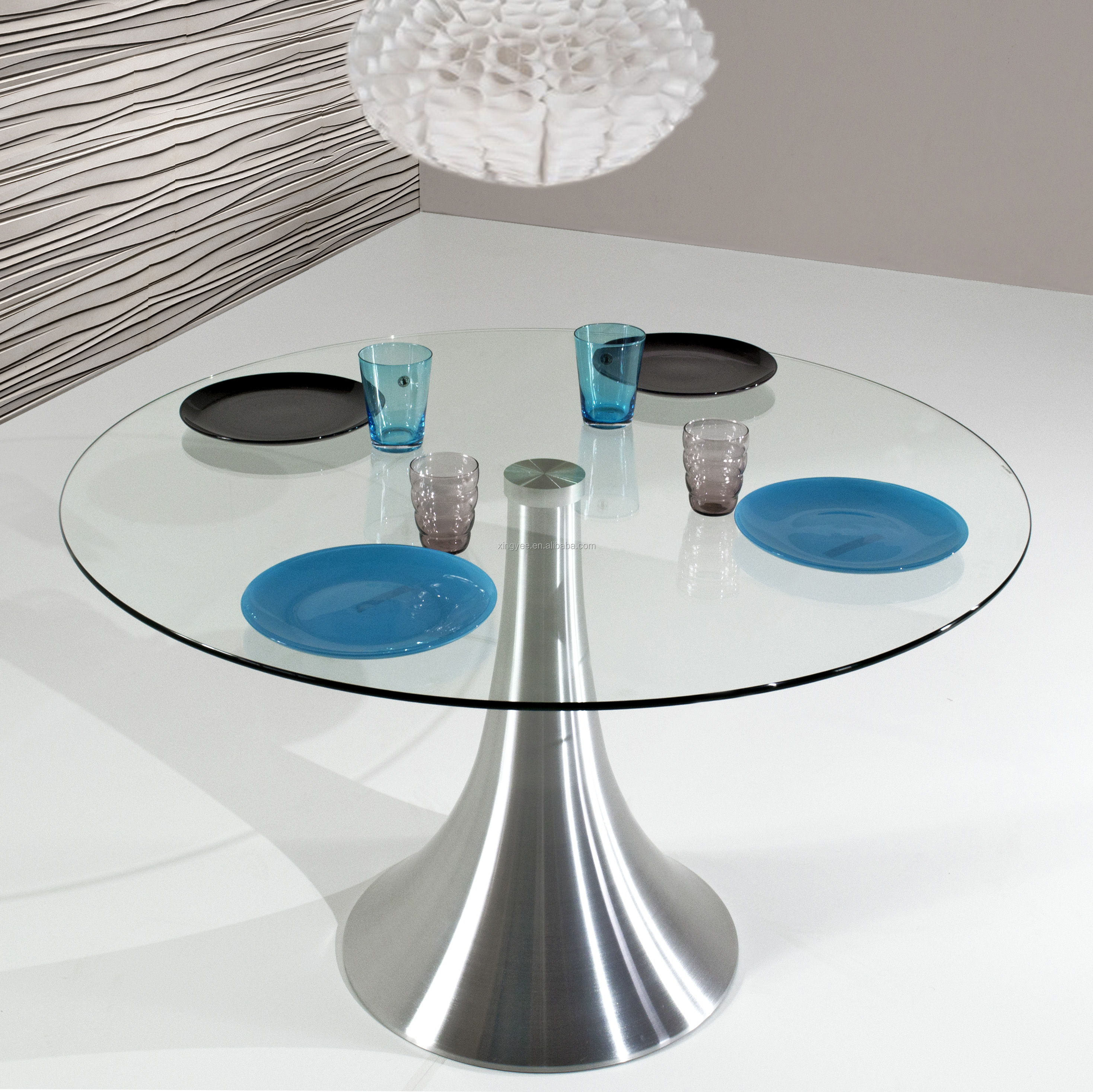 Modern Furniture 9 Seater Glass Dining Table Homes Design Round ...