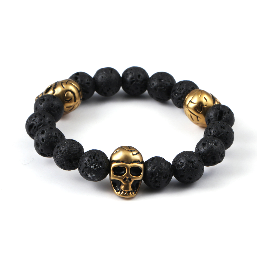 Health jewelry skull beacelets made with volcanic stones beads