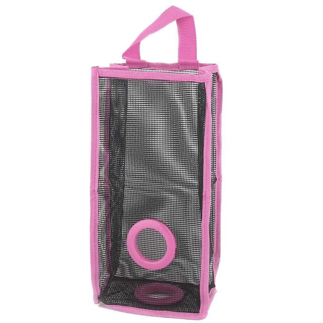 uxcell PVC Mesh Household Bathroom Wall Hanging Grocery Bag Holder Storage Container Fuchsia
