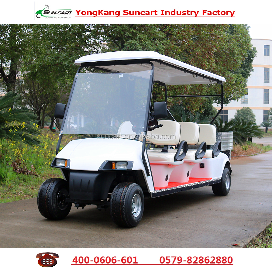 Cuostomized 6 seater electric transport golf cart with rear cargo box