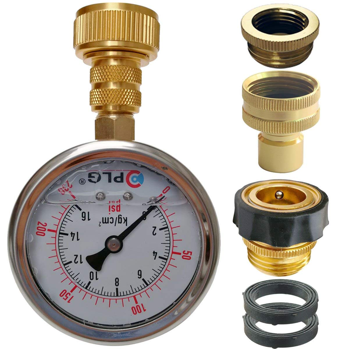 "PLG Quick Connect/Disconnect Water Pressure Gauge Kit,2 in.Gauge w/Oil, 0 psi 230 psi,Push-Lock 3/4"" GHT Hose Connector,3/4"" to 1/2"" Spigot Adapters"