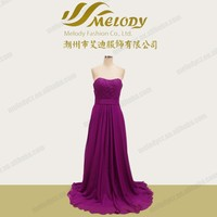 Fuchsia satin simple floor-length off shoulder pleated prom dresses for women