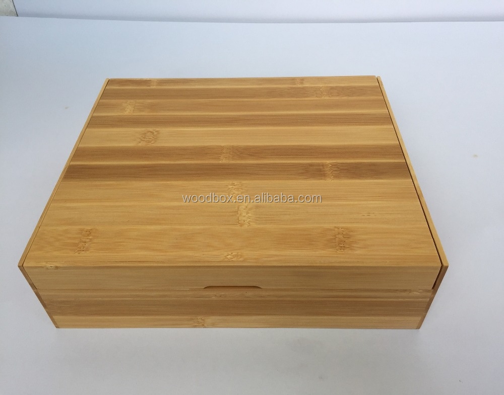Bamboo tea box storage box keep sake box eco-friendly environment friendly natural finishes sliding scattering lid High quality