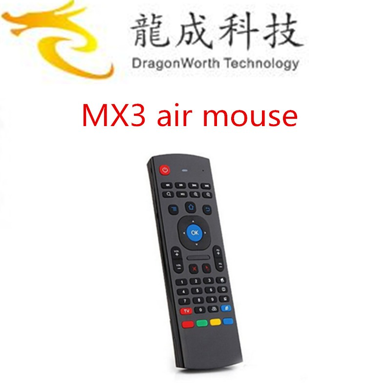 Dragonworth MX3 Qwerty android smart air remote mouse keyboard controller for android tv box can work on T95/M8S/Q box and Minix