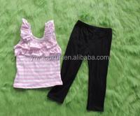 clothing manufacturing Summer Girls 2pcs Cute Outfits pink sleeveless Shirt matching black cotton long pant