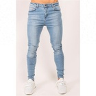Royal wolf denim jeans manufacturer light blue wash italian boy men's skinny custom logo denim jeans
