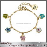 14k Gold plated Children's Crystal Charm Butterfly Bracelet