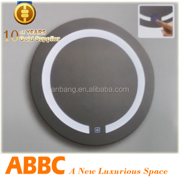 Silver type of round mirror with glass shelf model MR-K024