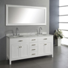 Transitional Pure White Finished Hotel Style Wooden 72 Inch Bathroom Vanity