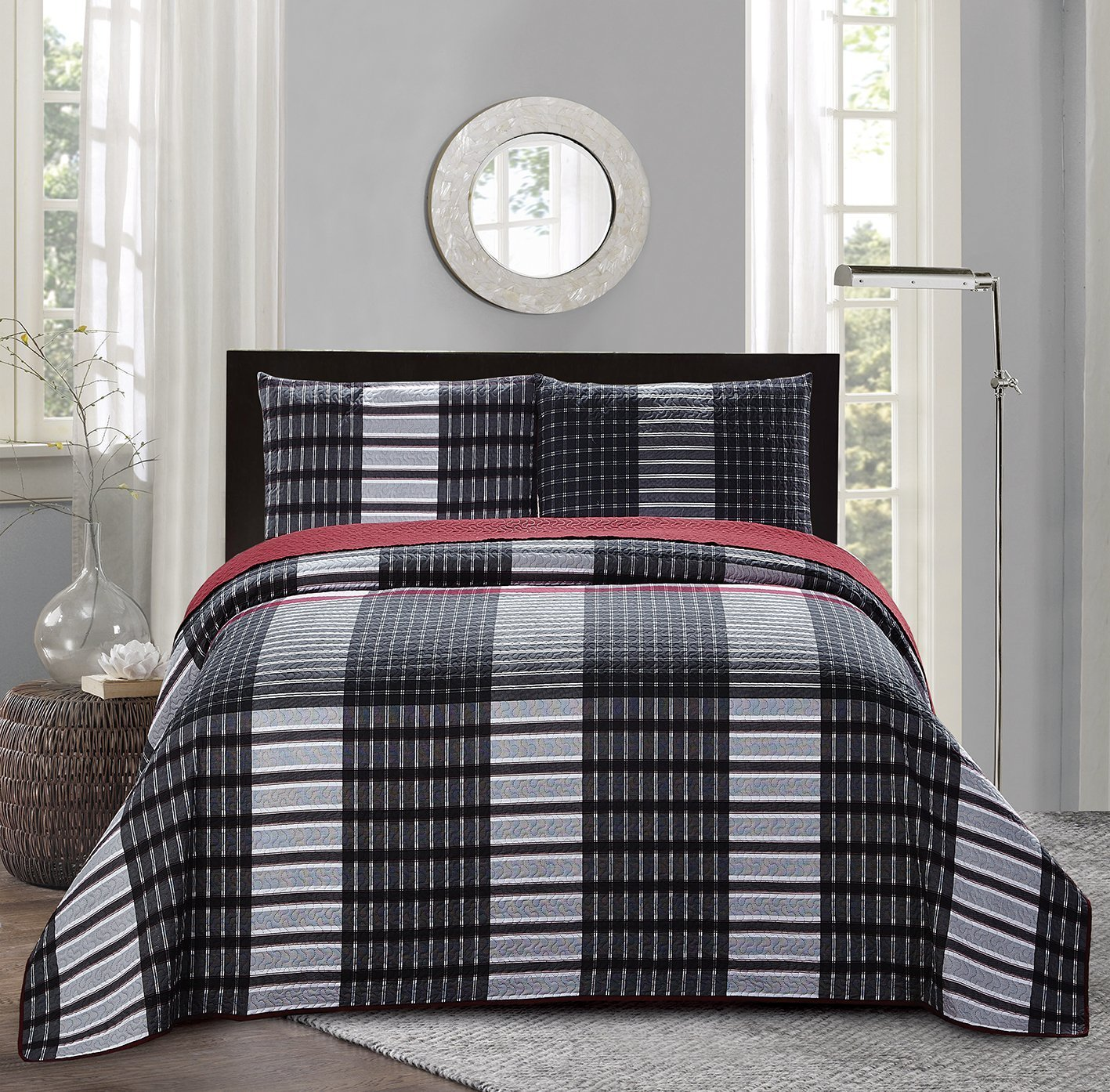 Get Quotations All American Collection New 3pc Plaid Printed Reversible Bedspread Quilt Set King Cal