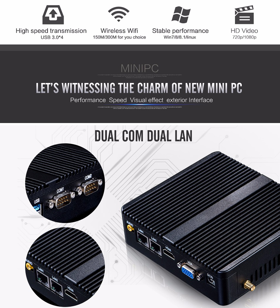 Mini PC 3755U Windows10 Celeron Dual Core Desktop small linux PC mini sd