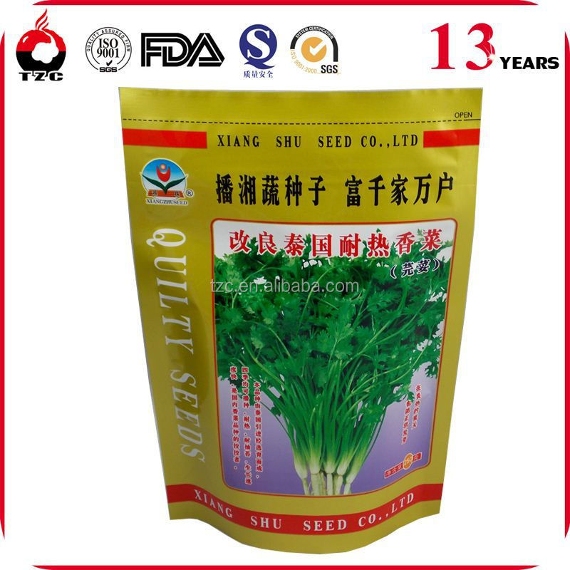 Heat Seal Custom Printed Plastic vegetable Seeds Packaging Bags With Hanging Hole
