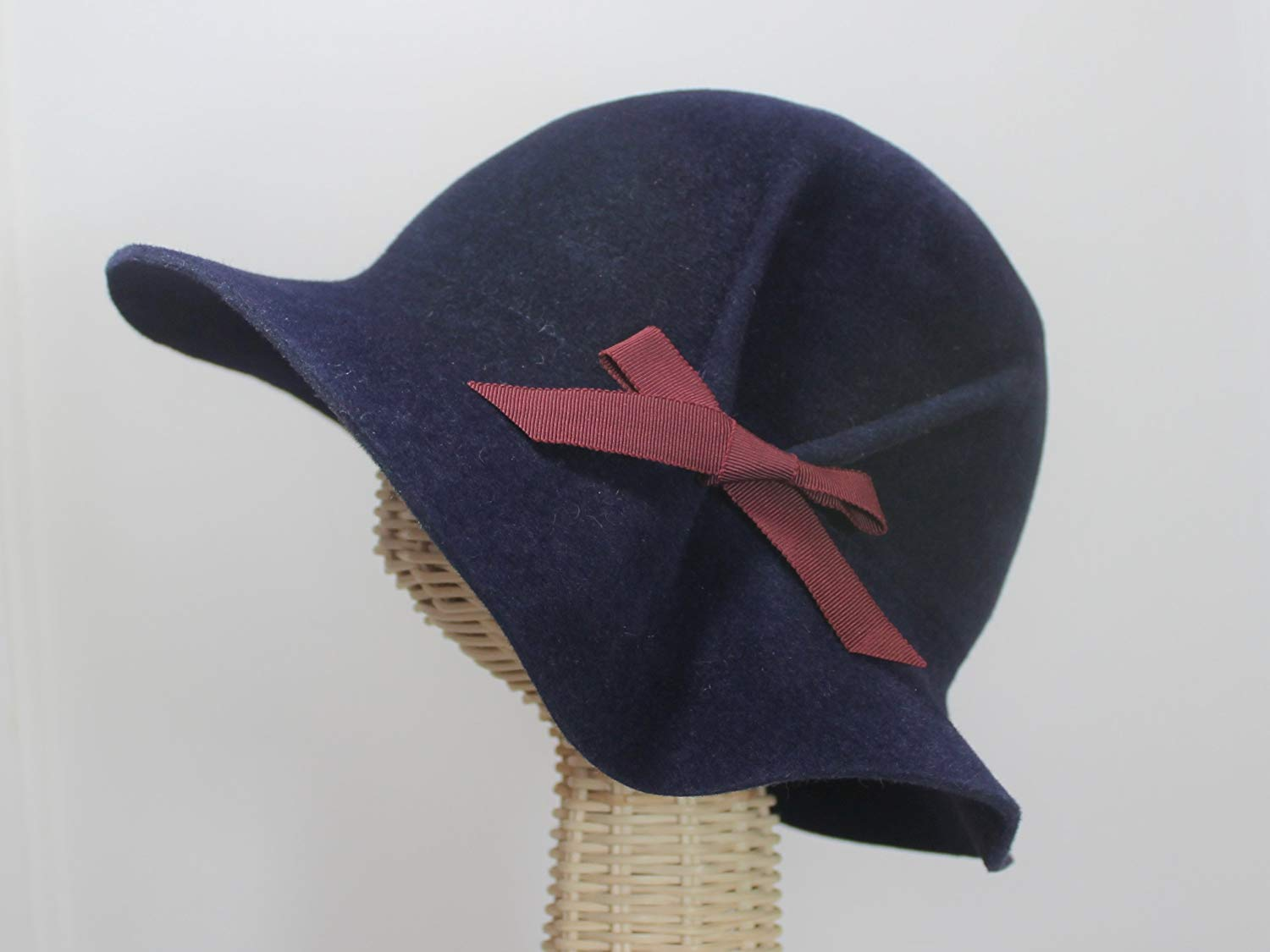 713038967aa Get Quotations · Eva Navy Blue 30s Style Pleated Cloche Hat in Velour Felt