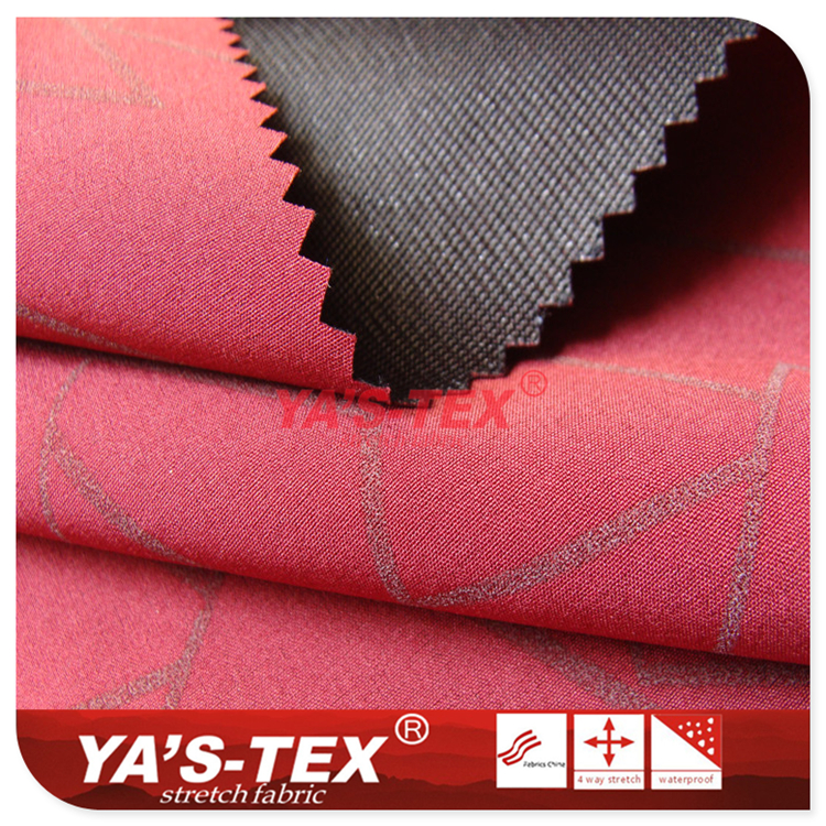 Three-layer composite soft shell fabric, polyester four-way elastic composite 30D Tricot, reflective printing