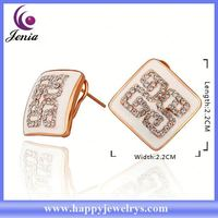 China supplier wholesale price with good quality 18k gold latest design diamond earring RGPE796
