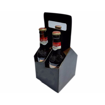 Glossy black corrugated 4 pack beer holder portable box with paper handle