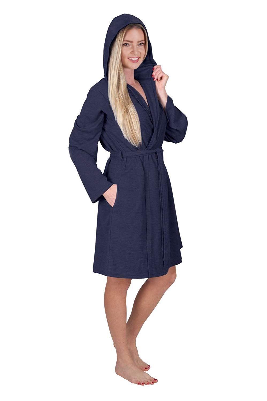 Get Quotations · Love This Robe Women s Short Hooded Robe Ladies Waffle  Knit Robe Hoodie Bathrobe Hoodie Wrap Travel ccbfc0c45