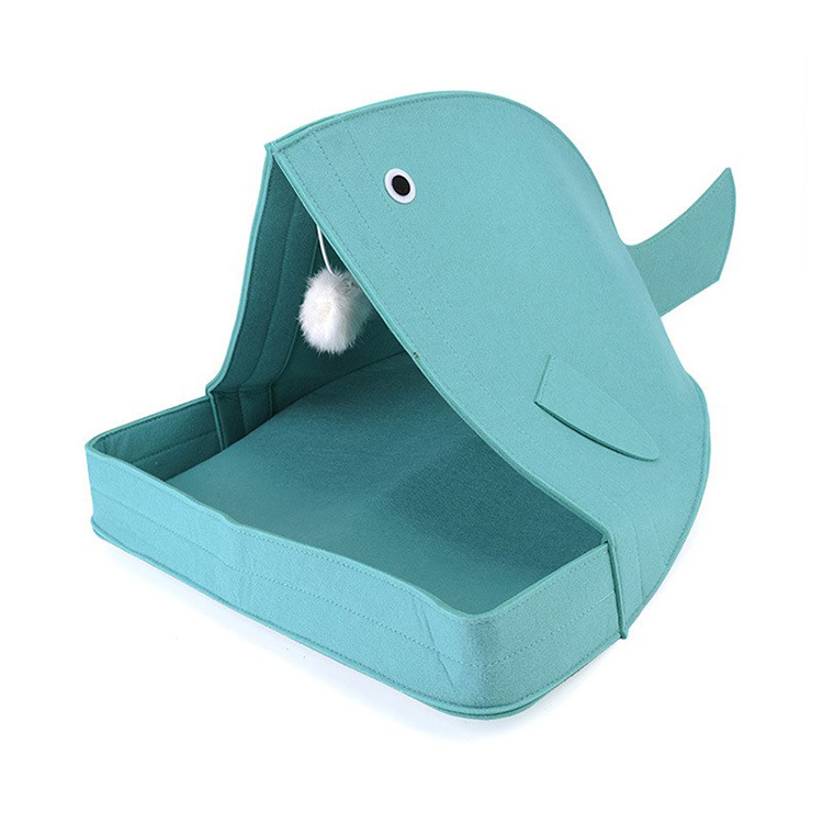 China wholesale cute friendly Nature grey shark shape felted cat cave bed