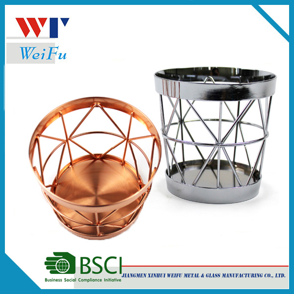 Storage with French fries baskets , chrome or rose gold geometric basket