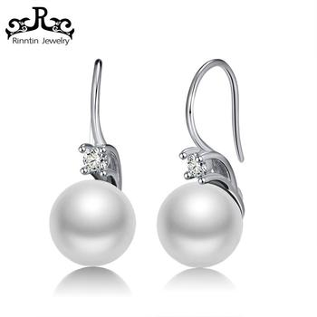 RISE85 Latest Fashion Genuine 925 Sterling Silver Pearl Hook Earring Design New Model for Women