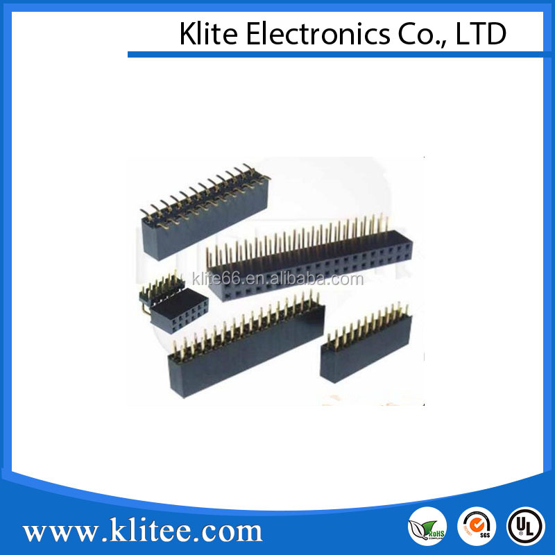 Klite 2.54mm Female header square tube connector with dual row bending pin