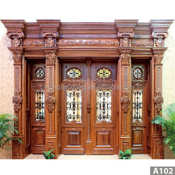 latest villa main door solid wood security villa double leaf door design