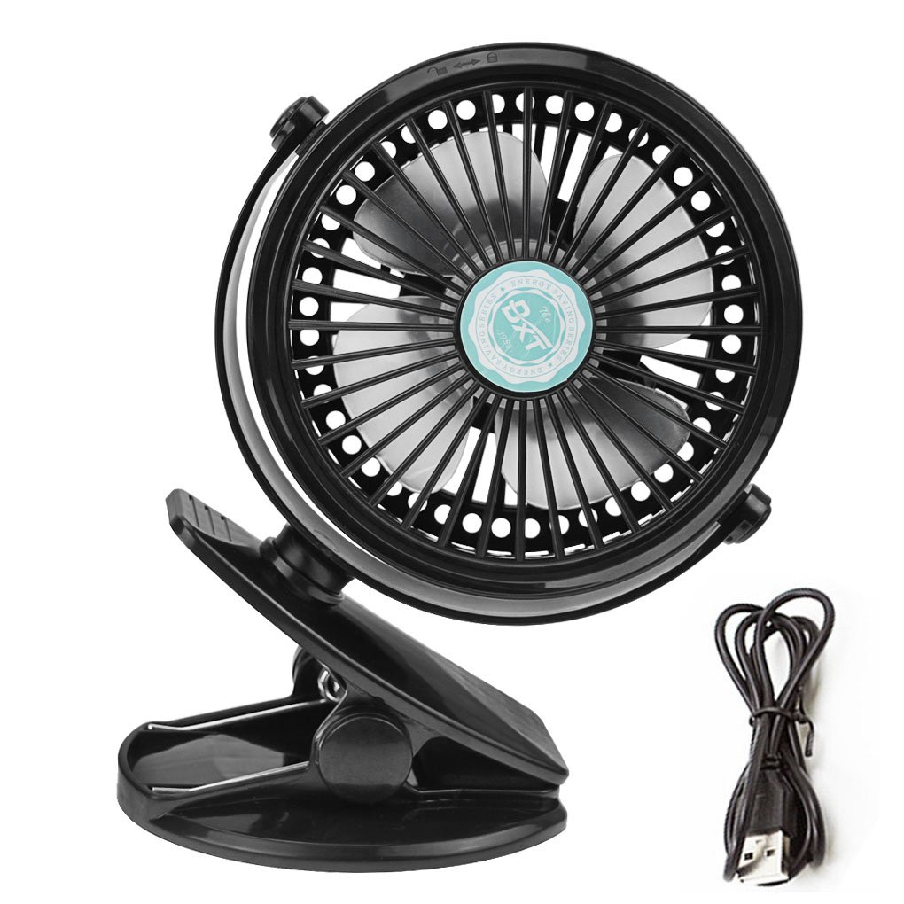 Mini Rechargeable Clip-on Table Fan USB/Battery Powered, Strong Wind, 3 Speeds Portable Cooling Fan, Small Baby Stroller Pushchair Fan, Bedside Desk Fan, Quiet for Bedroom, Home, Office, PC, Laptop